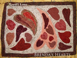 Brenda's Hearts Hooked Rug Canvas on Monks Cloth from Need ...
